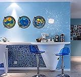 Autocollant mural en vinyle Tortues monde sous-marin poissons baleine en PVC Sticker Home Papier...