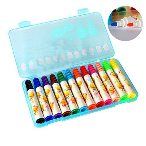 Preisvergleich Produktbild LY® Neu Fasermaler Filzstift Malstifte Farbstifte Kinder 12 Stück im Kunststoff-box Blau