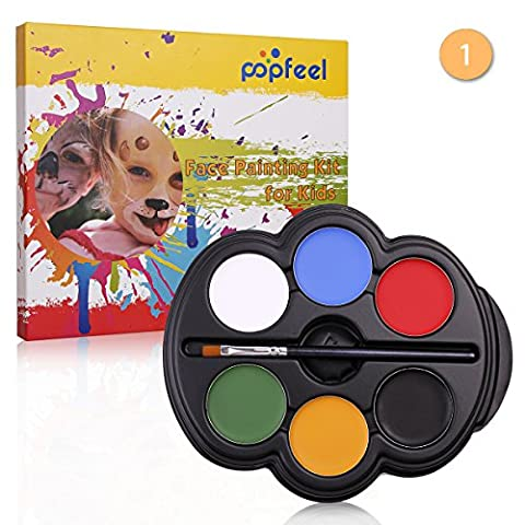 VALUE MAKERS 6 Color Kids Face Paint Palette Kit with Painting Brush-Rainbow Colour Professional Safe Non Toxic Childrens Kids Party Face Painting Kits-Makeup Tools Kits for Halloween Christmas Fancy Dress Party