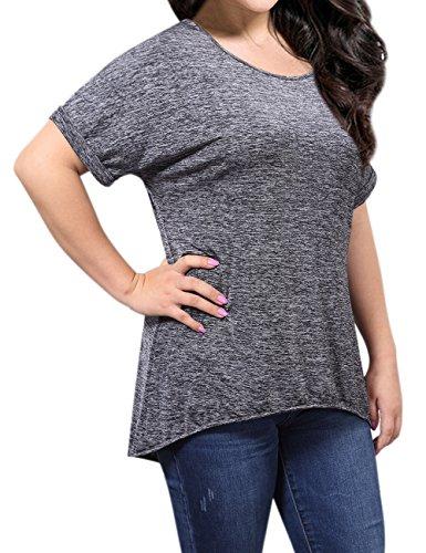 KoJooin Damen Plus Size Kleid Longshirt Tshirt Kleid Dreiviertel Arm Lässige Casual Minikleid Oversize Kleid Schwarz Grau