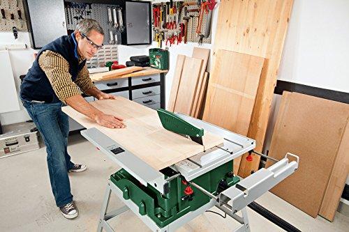 Bosch DIY Tischkreissäge PTS 10 T, Untergestell, Spaltkeil, Tischverlängerung, Winkelanschlag, Absaugschlauch, Karton (1400 W, Kreissägeblatt Nenn-Ø  254 mm, Schnitttiefe bei 90° 75 mm) - 5