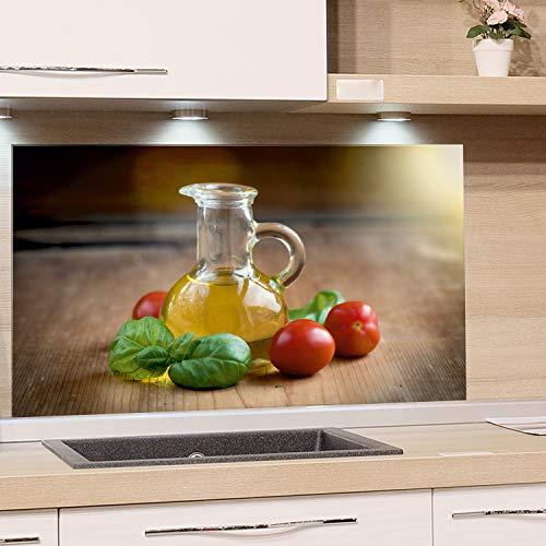 GRAZDesign Küchenrückwand Glas-Bild Spritzschutz Herd Edler Kunstdruck hinter Glas Bild-Motiv Flasche Öl Eyecatcher für Zuhause / 100x60cm