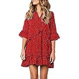 JUTOO Women V-Neck Flare Sleeve Cross Ruffles Polka Dot Print Swing Casual Mini Dress