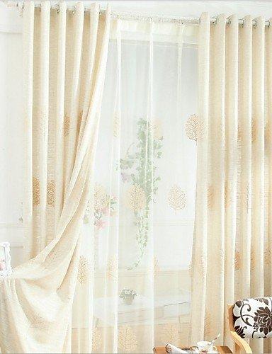 Vorhänge Rustikal Leinen (CLL/ zwei Panele Rustikal Blumen / Pflanzen Beige Schlafzimmer Leinen / Baumwollmischung Flächenvorhänge Vorhänge , double pleated-2* , double pleated-2*)