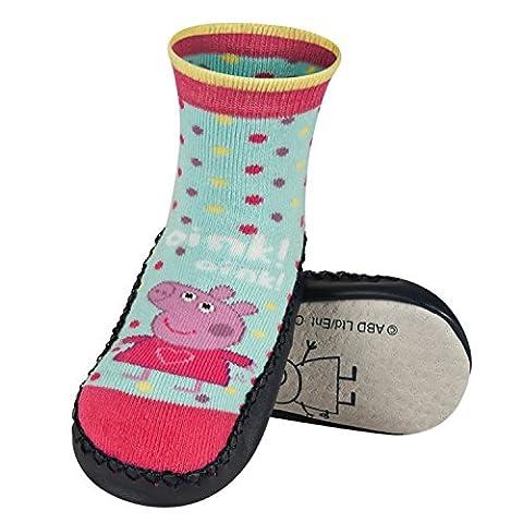 Chaussons chaussettes antidérapantes avec semelle en véritable 100% cuir - Taille 27/28 Peppa Pig 1