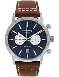 amazon co uk rotary watches outlet watches rotary men s quartz watch blue dial chronograph display and brown leather strap