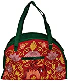 Exotic India Red and Green Shopper Bag f...