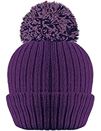 b06e53c78ad LADIES WOMENS RIBBED 3M THINSULATE LINED BOBBLE POM POM HAT