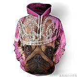 XYL HOME Hoodie,Männer und Frauen realistische 3D-Druck Kopfschmuck Hund Pullover Kapuzen Sweatshirt Hoodie große Tasche, 2XL
