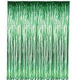 "Green Fringe Foil Curtain Decoration 36"" X 96"""