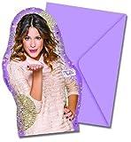 12-teiliges Einladungskarten-Set * VIOLETTA - GOLD EDITION * für Kindergeburtstag oder Motto-Party // 6 Einladungen und 6 Umschläge // Geburtstag Party Invitations Disney Sängerin rosa
