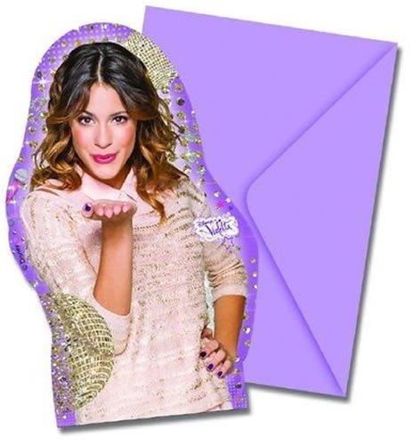 gskarten-Set * VIOLETTA - GOLD EDITION * für Kindergeburtstag oder Motto-Party // 6 Einladungen und 6 Umschläge // Geburtstag Party Invitations Disney Sängerin rosa ()