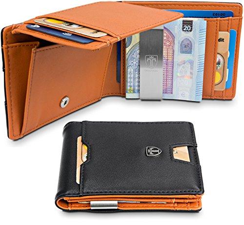 TRAVANDO ® Geldbeutel mit Geldklammer Brisbane - 10 Kartenfächer - Großes Münzfach - Schlankes Portemonnaie - RFID Schutz - Glatt-Leder-Optik - Geschenk Box - Designed in Germany (Schwarz)