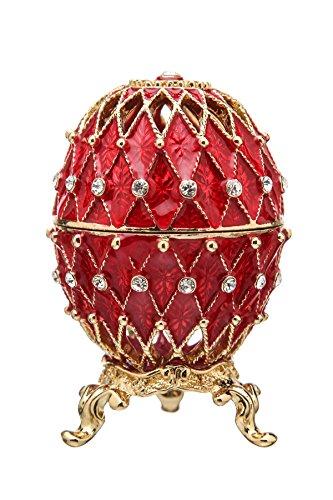 danila-souvenirs Russische Fabergé-Stil geschnitzt Ei/Schmuckkästchen mit Gitter 7,5 cm rot -