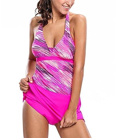 VITINA Womens Halter Stripes Bathing Suit Print Tankini and Skort Swimsuit Swimwear