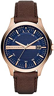Armani Exchange Men's Blue Dial Leather Band Watch - AX
