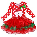 Robe de Noël, Kfnire Bébé fille robe de princesse santa claus motif polka dot bow robe rouge (rouge, 9-12 mois)