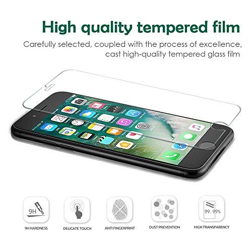 [3 Unidades] Protector de Pantalla iPhone 7 / 6s / 6  Hootech Cristal Vidrio Templado Premium Para Apple iPhone 7 / iPhone 6s / iPhone 6 [9H Dureza][Alta Definicion 0.33mm] [3D Touch Compatibles]