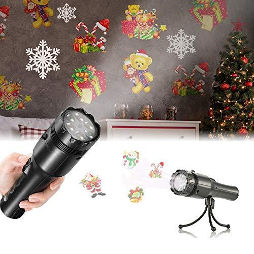 Luces Proyector Navidad LED, Sendowtek Linterna para Niños Navidad Luces Decorativas con 12 Diapositivas y Trípode, Proyector Movimiento Lámparas para Christmas/ Fiesta de Cumpleaños / Festivales