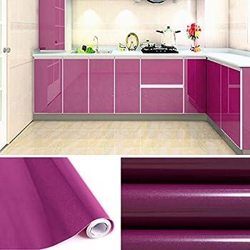 KINLO Papier Peint Adhésifs Décoration Cuisine Autocollant Rouleau 5 X 0,61  M Stickers Mural Porte Film Vinyle Pour Meuble Frigo Placard Armoire    Violet