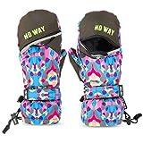 Kinderhandschuhe Wasserdicht skihandschuhe mit der Magnetstreifen-Technik kann öffnen und schließen zum einfach Zugang und Spaß, Fäustlinge für 9-11 Jahre Mädchen Jungen, Weihnachten Geschenk