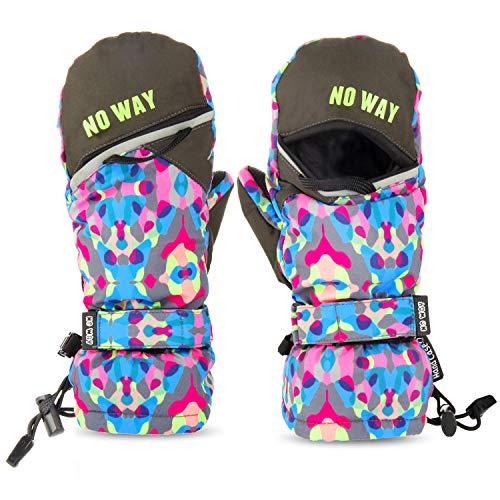 Kinderhandschuhe Wasserdicht skihandschuhe mit der Magnetstreifen-Technik kann öffnen und schließen zum einfach Zugang und Spaß, Fäustlinge für 12-14 Jahre Mädchen Jungen, Weihnachten Geschenk - Für Mädchen-größe Ski-jacken 14