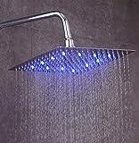 Fyeer led - duschköpfe 8 Zoll Quadratische Einbauduschköpfe Edelstahl Duschkopf Regenbrause Brausekopf aus Edelstahl mit Anti-Kalk-Düsen Spiegeleffekt, G1/2 Innere Faden (Quadratische, 8 Zoll)