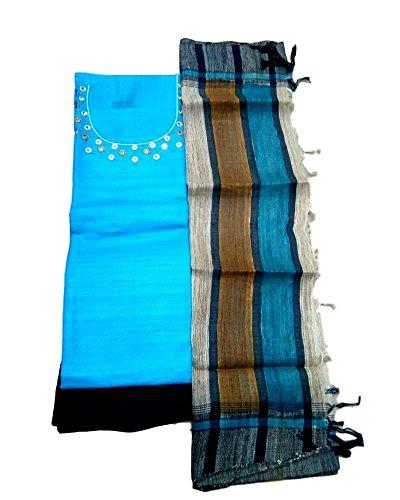 Kumar Designs Women's Jute silk Unstitched Dress Material (KumDes_006, Blue, freesize)