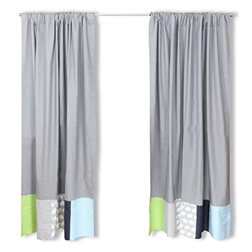 ULLENBOOM ® Patchwork Vorhänge Kinderzimmer 140x170 cm Elefant Blau Grün (Babyzimmer Gardinen, Baumwolle, 2 Schals, Motiv: Sterne, Punkte)