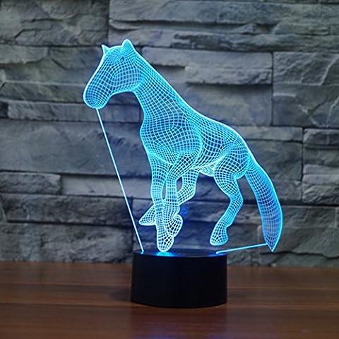 Illusione 3d lampada luce notturna jawell Cavallo 7Cambiare colore Touch USB tavolo regalo giocattoli