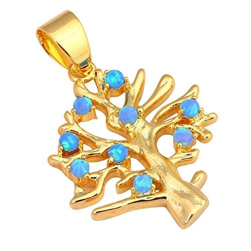 Bling alla Moda in Stile Romantico Albero Blu Opale di fuoco argento 925collane ciondoli Fashion Jewelry ops546a