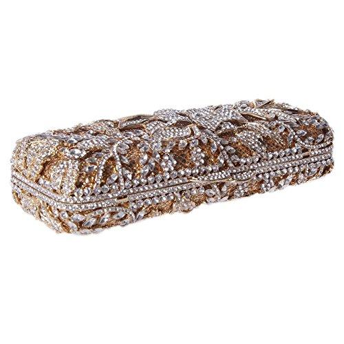 Santimon Clutch Delle Donne Fiore Borsellini Bling Strass Diamante Cristallo Borse Da Festa di Nozze Sera Con Tracolla Amovibile 4 Colori oro