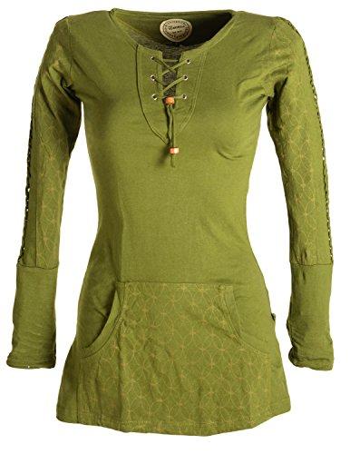 Vishes - Alternative Bekleidung - Bedrucktes Kapuzen Longshirt aus Baumwolle mit Kangurutasche Olive 38 - Baumwolle Geflochten Olive
