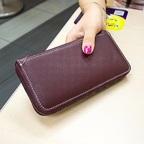 Ms Corea ofreció la capa de color sólido monedero de cuero de vaca zip grande alrededor del titular de la tarjeta monedero monedero,púrpura