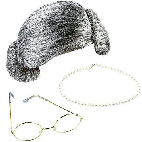 Großmutter Kostüm - Keriber 3 Stücke Grau Großmutter Perücke Oma Brille Künstliche Perle Halskette Schick Kleid Schmuck
