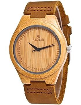 Redear Damen Holzuhr Holz Armbanduhr aus 100% Nat¨¹rlicher Bambus Mit Japanischer Quarzwerk Holzuhr Watch