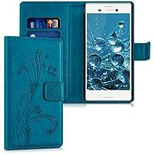 kwmobile Funda para Sony Xperia M4 Aqua - Wallet Case plegable de cuero sintético - Cover con tapa tarjetero y soporte Diseño Zarcillos y mariposas en azul oscuro