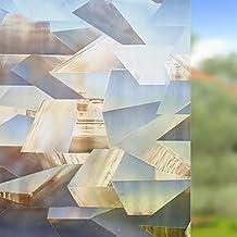 Rabbitgoo® Vinilo para Ventanas Láminas Electrostáticas para Ventanas Super Anti-UV 3D Vinilos Sin Pegamento Patrón Poligonal Marrón 44.5*200CM para Apartamento o Casa de Alquiler