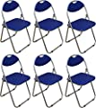 Harbour Housewares Blue Padded, Folding, Desk Chair - Pack of 6