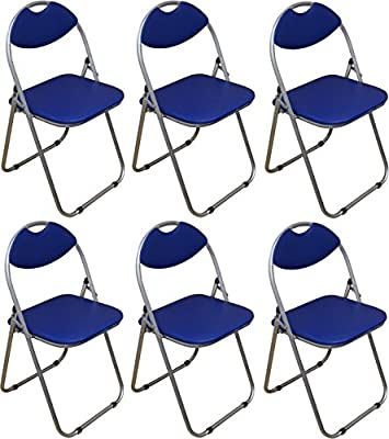 Harbour Housewares Blue Padded, Folding, Desk Chair - Pack of 6 - cheap UK light store.