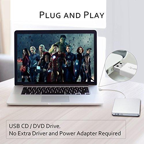 Patuoxun External CD DVD Drive, Portable USB DVD CD RW Writer Reader CD-RW/DVD-RW Player Burner, External Optical Drives with Classic Silvery for Apple MacBook Air, Macbook Pro, Mac OS, PC Laptop