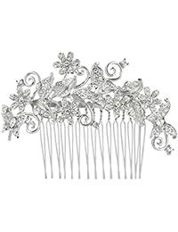 EVER FAITH® - Cristal Secret Garden Inspirado Mariposa Flor Boda Pelo Peine de Pelo Peineta Accesorio N03349-1
