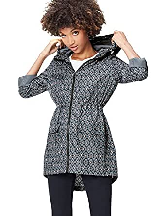 FIND Women's Raincoat in Floral Pac-a-Mac, with Drawstring Hood and Waist and Zip Fastening, Green (Grey/Peach Ikat), 8 (Manufacturer size: X-Small)