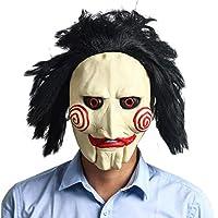Halloween Tímido Fantasma Máscara Negro Pelo Blanco Cara Horror Máscaras Rendimiento Party Látex Jersey Accesorios