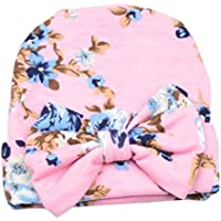 Butterme Infant delle neonate dei ragazzi con stampa floreale Nursery Newborn Ospedale cappello della protezione con il grande fiore di Bowknot