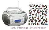 Boombox tragbar, Radi, CD-Player, Sleeptimer, Kassettendeck, inkl. Flaming Aufkleber (Weiß)