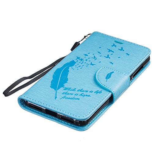 Coque pour iPhone 7G / 7,Housse en cuir pour iPhone 7G / 7,Ecoway Feather motif en relief étui en cuir PU Cuir Flip Magnétique Portefeuille Etui Housse de Protection Coque Étui Case Cover avec Stand S bleu clair