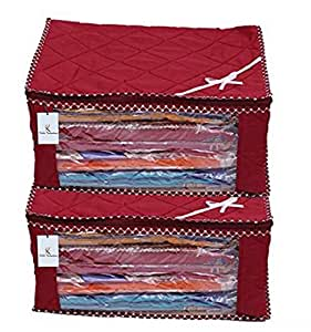 Kuber Industriestm 3 Layered Quilted Multi Saree Cover Set Of 2 Pcs (10-15 Sarees Capacity),Maroon,Pack Of 2 Pcs,Fabric