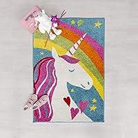 Children Play Days Unicorn, Robot, Rocket, Supershield, Princess Castle, Football, Love Heart and Stripes Design Kids Room Rug