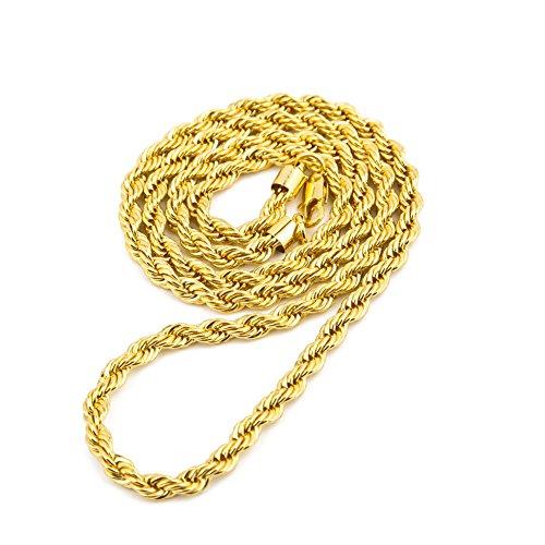 Scpink Vendita liquidazione, Liquidazione Offerte Hip Hop Collana con ciondolo Uomo Donna Moda Luxury Filled Curb Cuban Link Collana in oro Gioielli (D)